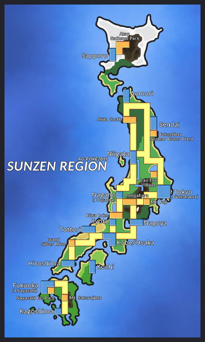 Japan as a Pokemon Region - Final Version by AG-Poke on ... on inuyasha map of japan, anime map of japan, cartoon map of japan,