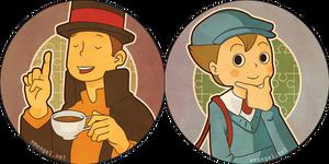 Professor Layton and Luke Buttons