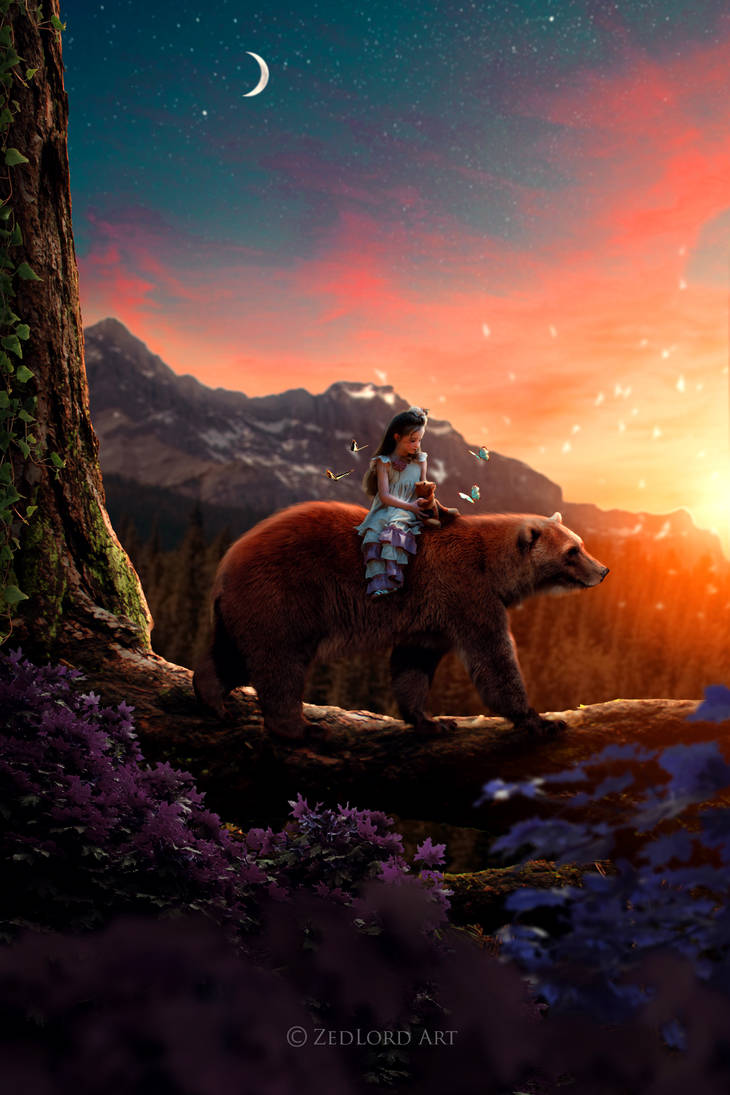 girl and bear by ZedLord-Art