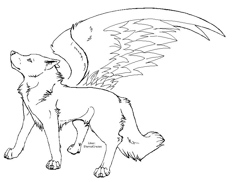 Amazing Anime Wolf With Wings Coloring Pages Ensign - Coloring Paper ...