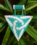 CELTIC KNOT turquoise and white beaded pendant