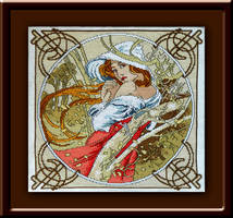 Autumn - hand embroidered painting (cross stitch) by YANKA-arts-n-crafts