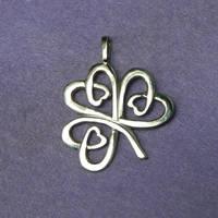 Celtic Shamrock silver lucky charm pendant by YANKA-arts-n-crafts