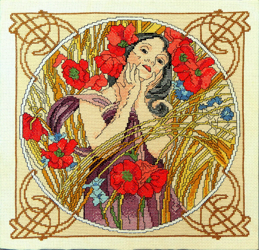 Summer - Art Nouveau hand embroidered painting by YANKA-arts-n ...