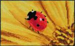 Cute ladybug on bright yellow flower cross stitch
