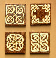 Celtic Knots wooden fridge magnets set of four by YANKA-arts-n-crafts