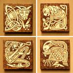Four Evangelists unique fridge Celtic magnets set