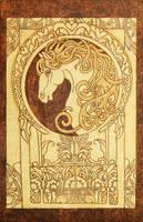 Noble Horse Art Nouveau style pyrography plaque
