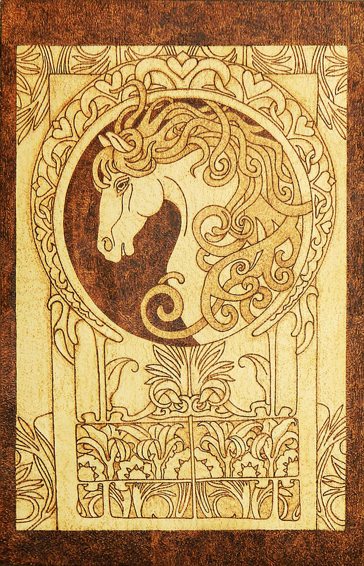 Horse arts and crafts - Noble Horse Art Nouveau Style Pyrography Plaque By Yanka Arts N Crafts