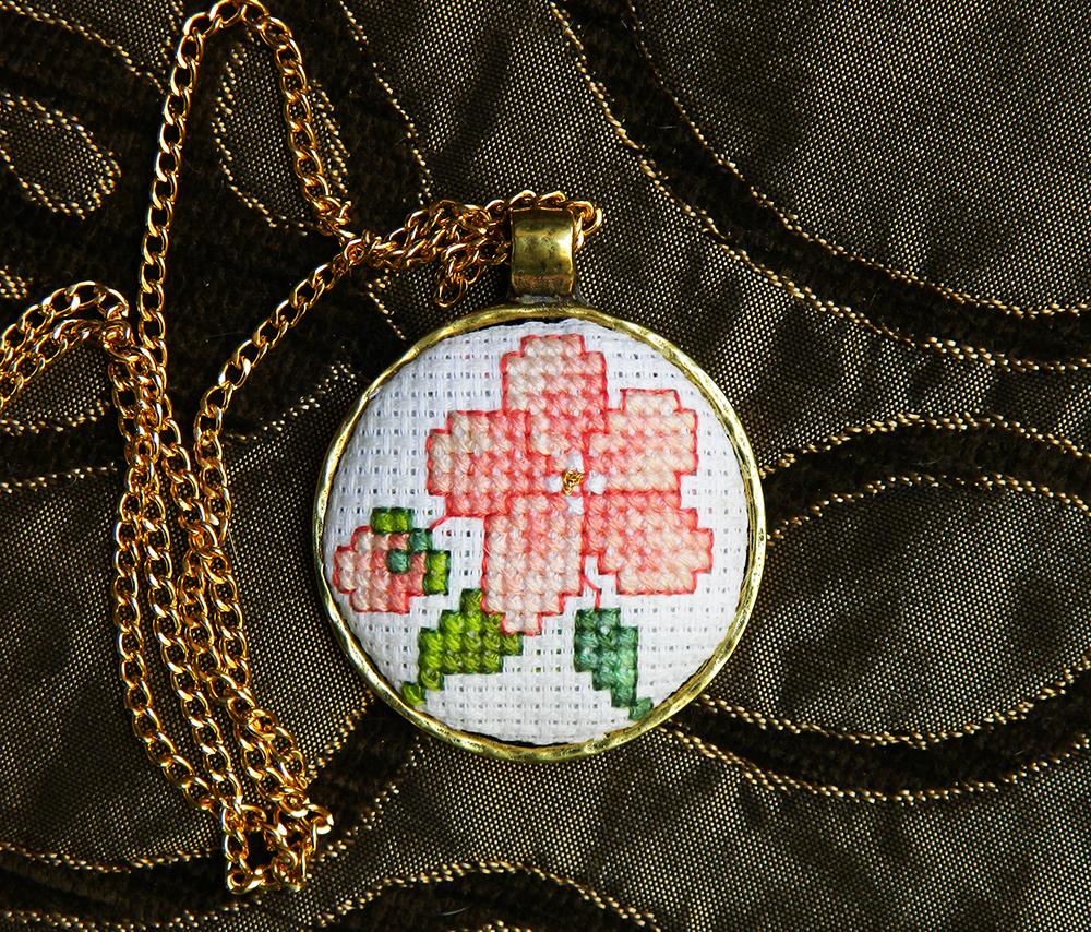 Sakura flower cross stitch pendant necklace by YANKA-arts-n-crafts