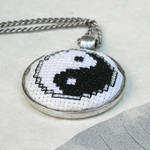 Yin Yang cross stitch embroidered pendant necklace