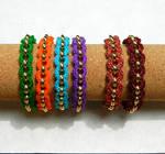 Boho gypsy colorful crochet gold chain bracelet