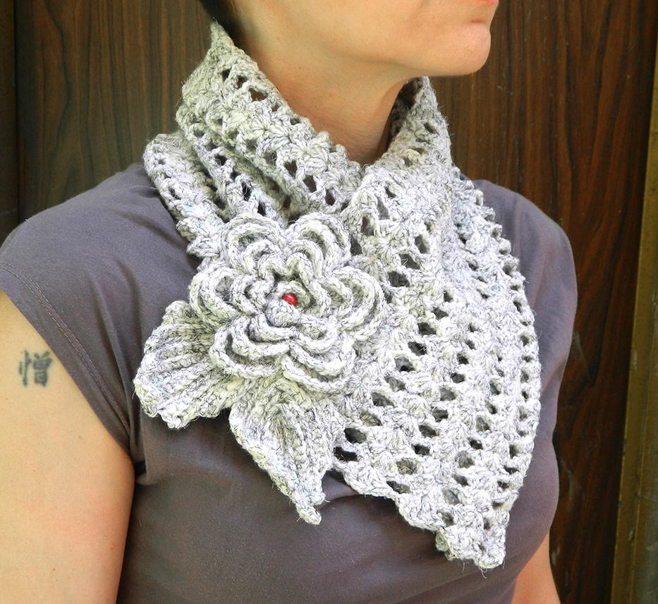 Crochet Fantasy : Fantasy lace crochet scarf with flower brooch by YANKA-arts-n-crafts ...