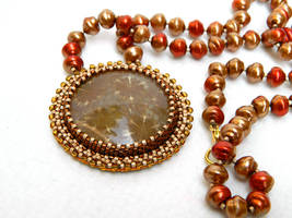 Dandelion fossilized coral statement necklace by YANKA-arts-n-crafts