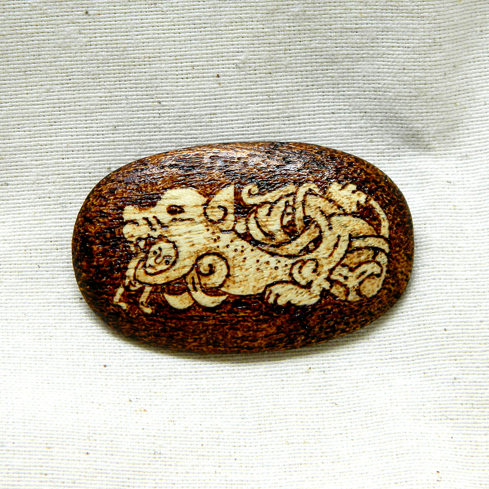 Ancient Norse Sea Monster pyrography brooch by YANKA-arts-n-crafts
