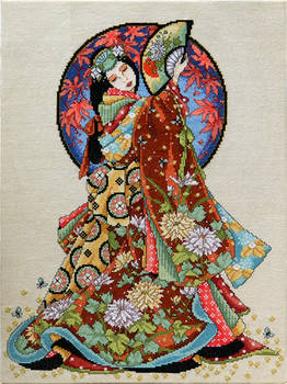 Elegant Japanese girl completed cross stitch