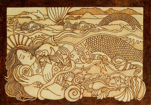 Beautiful Mermaid pyrography wooden plaque