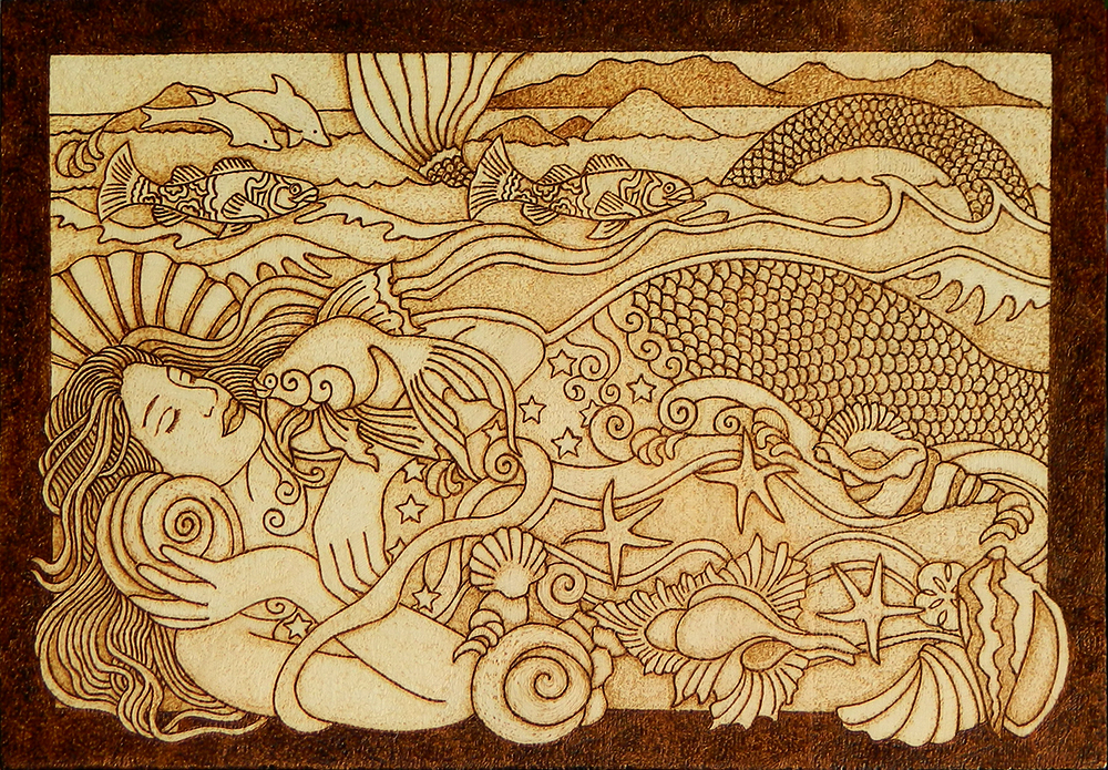 Beautiful mermaid pyrography wooden plaque by yanka arts n for Mermaid arts and crafts