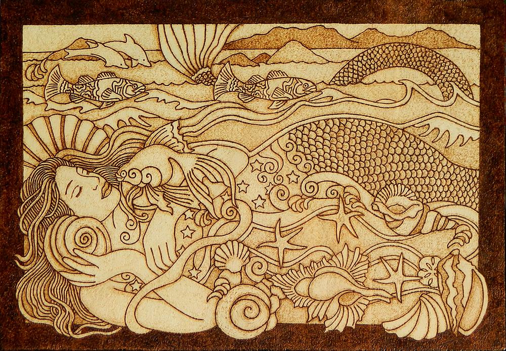 Beautiful Mermaid pyrography wooden plaque by YANKA-arts-n-crafts