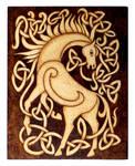 Celtic Horse wood burned plaque home decor