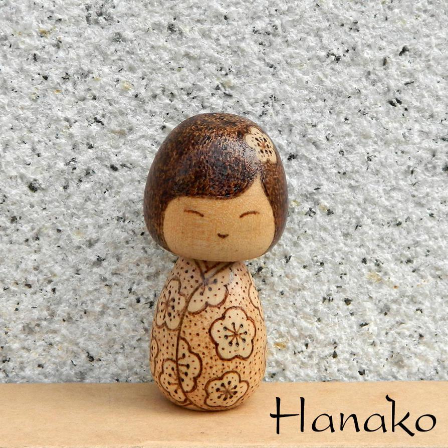 Hanako wood burned kokeshi doll by YANKA-arts-n-crafts