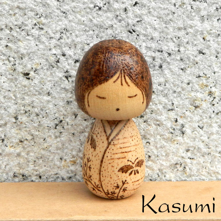Kasumi cute wood burned kokeshi doll by YANKA-arts-n-crafts