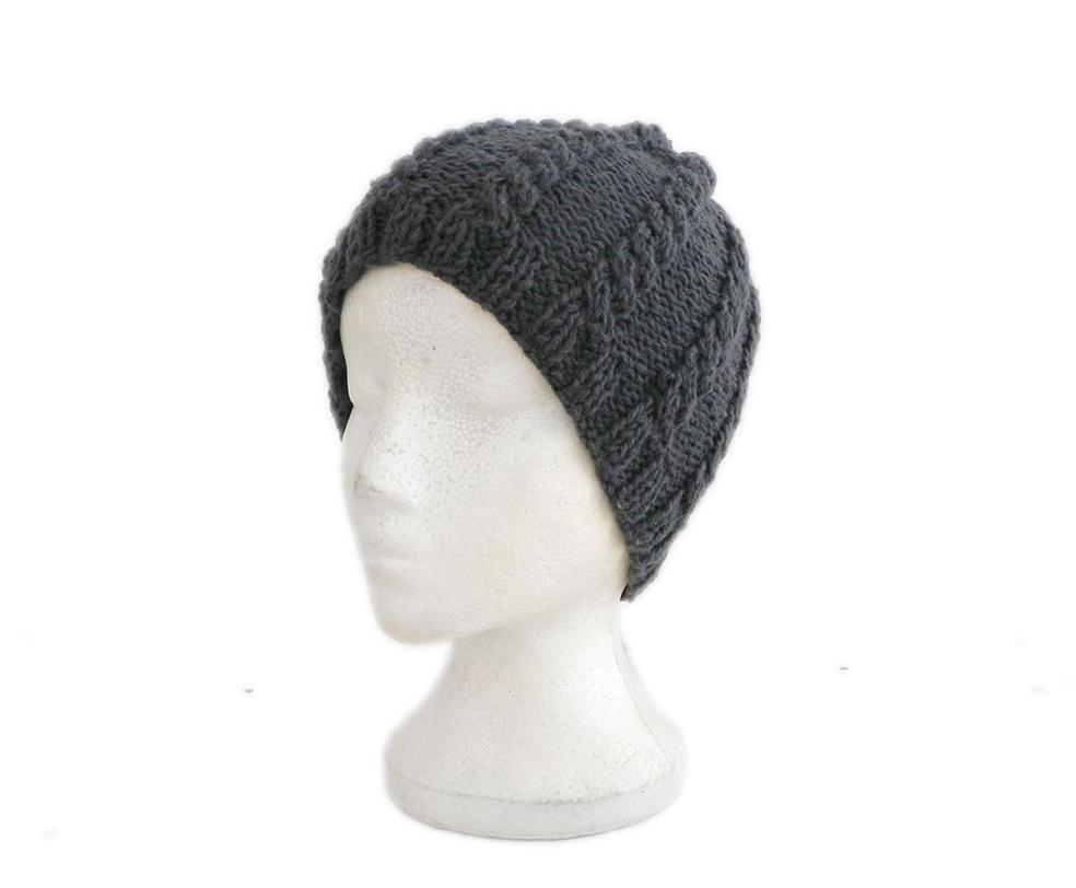 Dark grey hand knit beanie hat warm winter hat by YANKA-arts-n-crafts