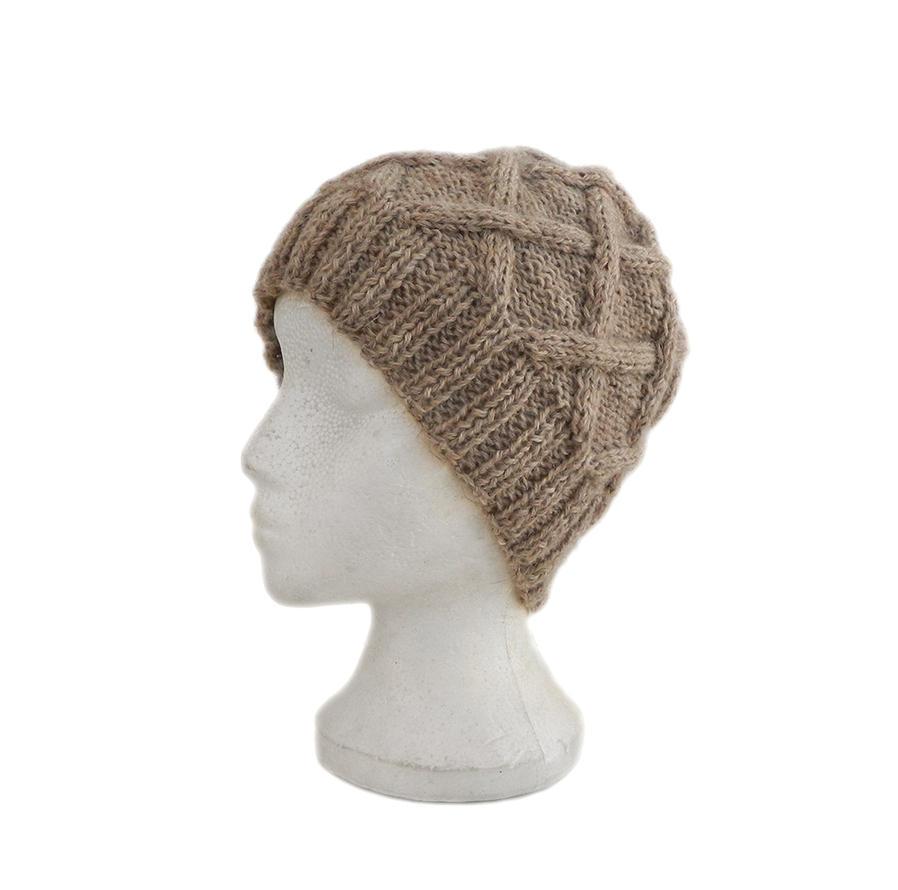 Light beige hand knit beanie hat warm winter hat by YANKA-arts-n-crafts