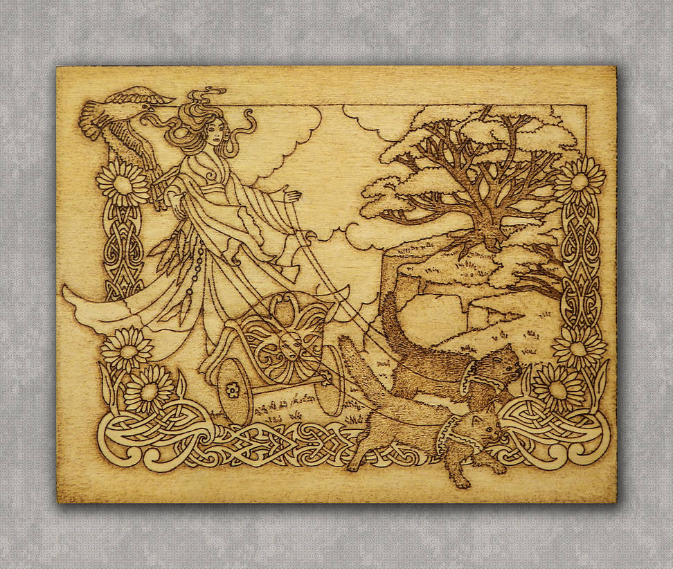 Freya Norse Goddess of Love and Beauty pyrography by YANKA-arts-n-crafts