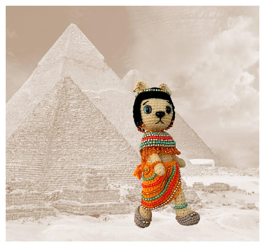 Egyptian goddess Bastet crochet figurine