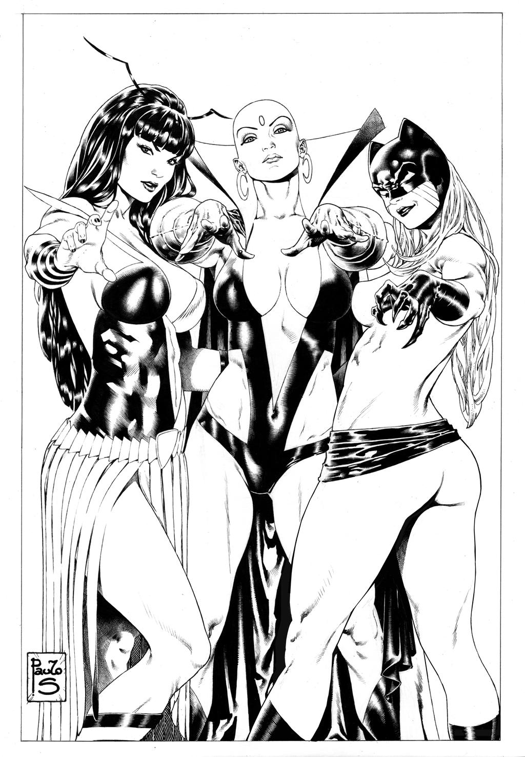 3 girls from Marvel Mantis, MoonDragon an Hellcat by PauloSiqueira