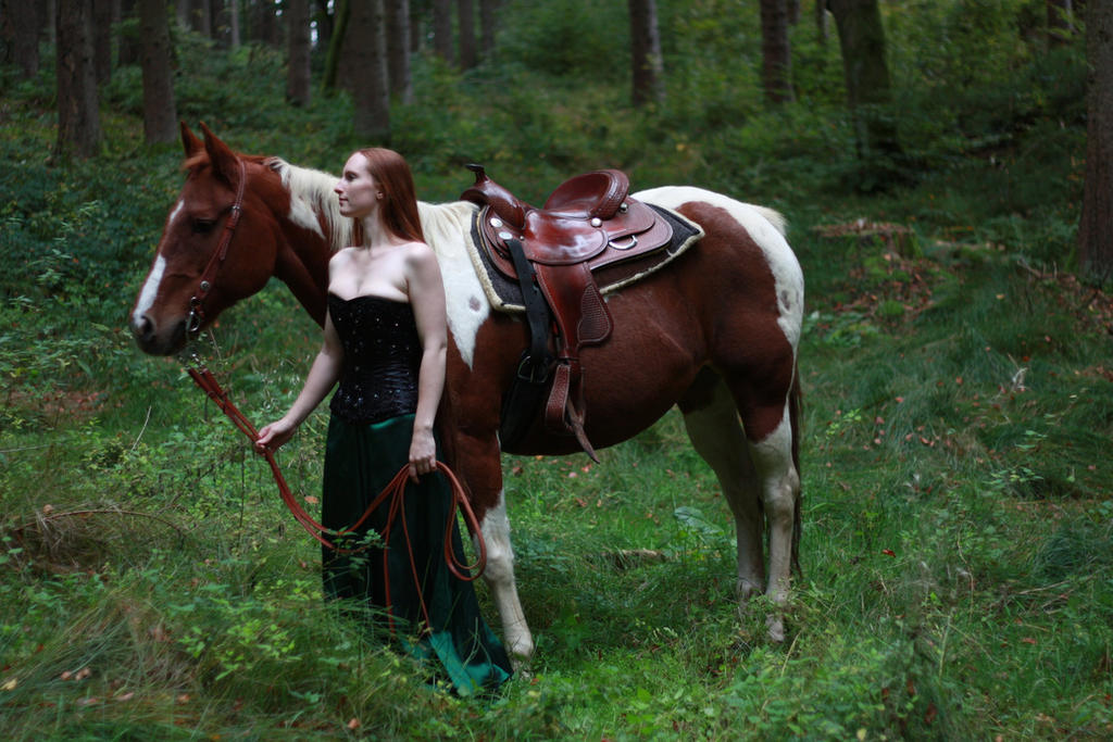 STOCK red haired woman and horse IV by MyladyTane