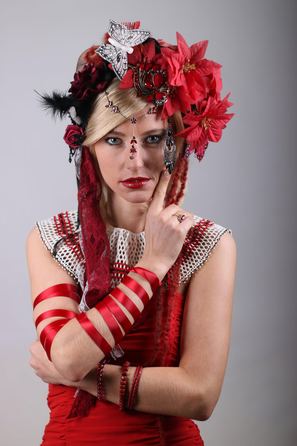 STOCK red girl headpiece II by MyladyTane