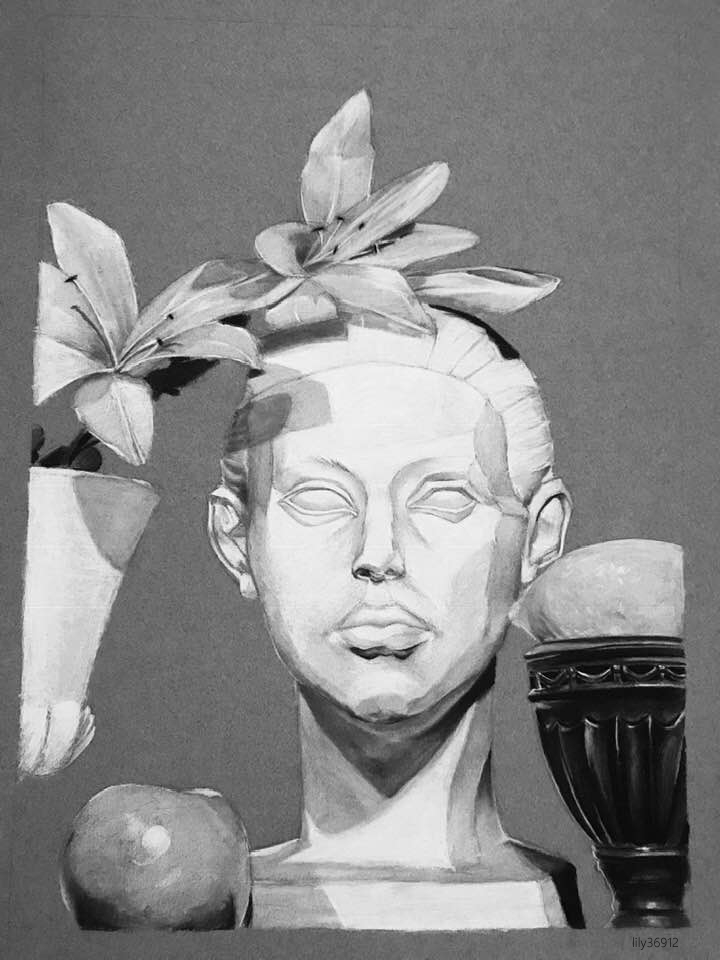 Roman Statue Charcoal Pencil by lily36912