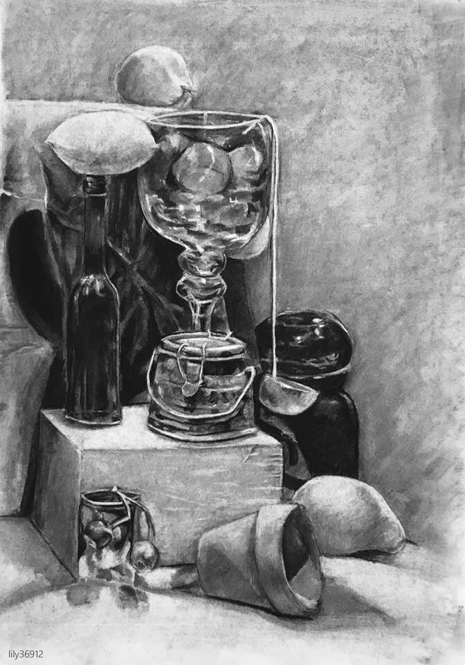 Still Life Drawing Charcoal Pencil by lily36912