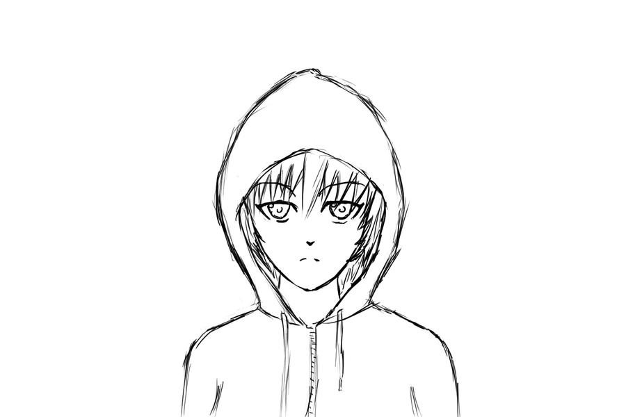 hoodie girl sketch by Darkspace244 on DeviantArt