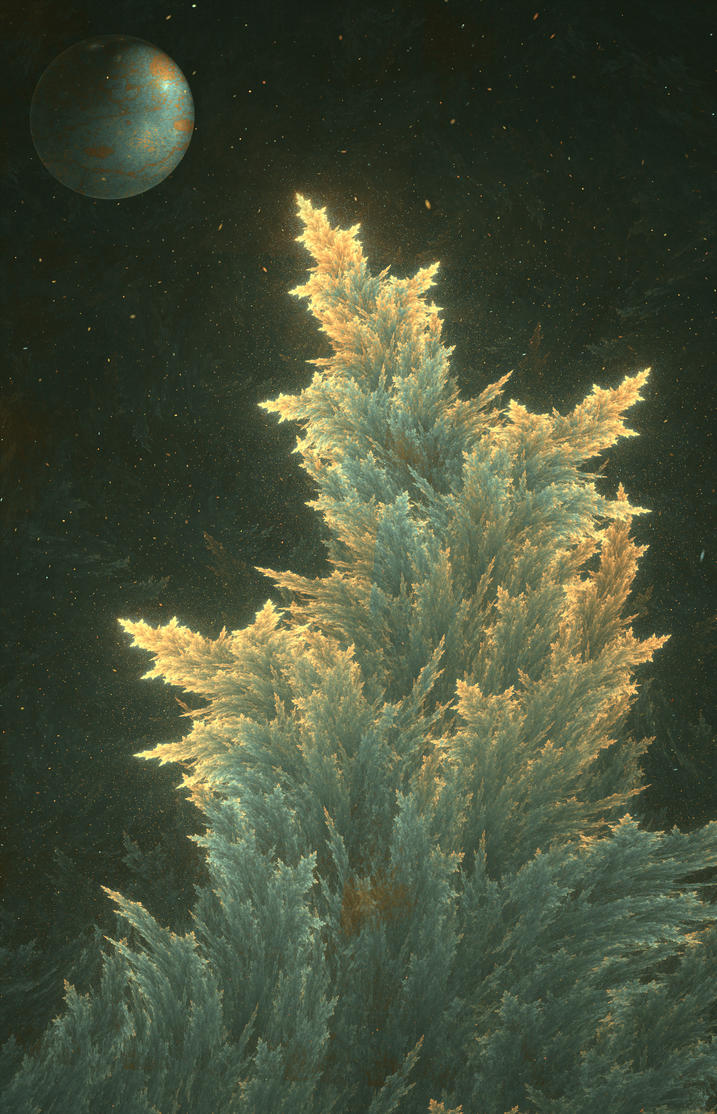 Dreams of a conifer tree at night by FractalDesire