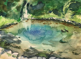 Pond at Oregon Caves Chateau by Riberry