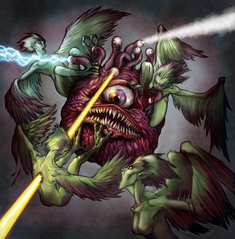 Image result for d&d beholder fighting mind flayer