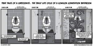 The Daily Life Cycle Of A Comicon Bathroom