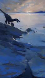 Saurornitholestes by the Lakeside