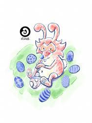 Happy Easter Eggs with Kusiboom (Kusibunny) by LACardozaRojas