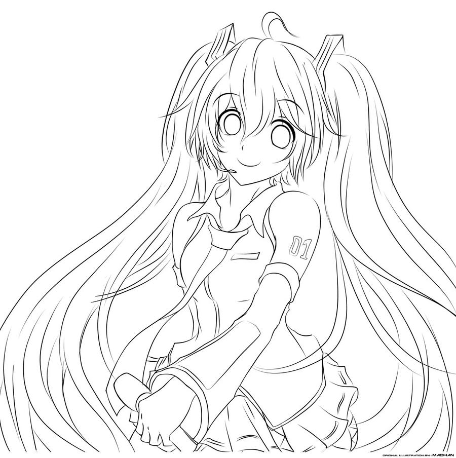 miku lineart by jurrig by jurrig on deviantart