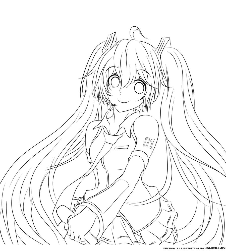 Hatsune Miku Lineart Jurrig By Jurrig On Deviantart Hatsune Miku Coloring Pages