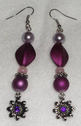 Long Purple Flower Earrings by YenriStar