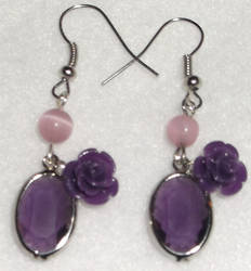 Purple Rose Earrings by YenriStar