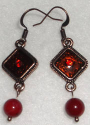 Red Tile Earrings by YenriStar