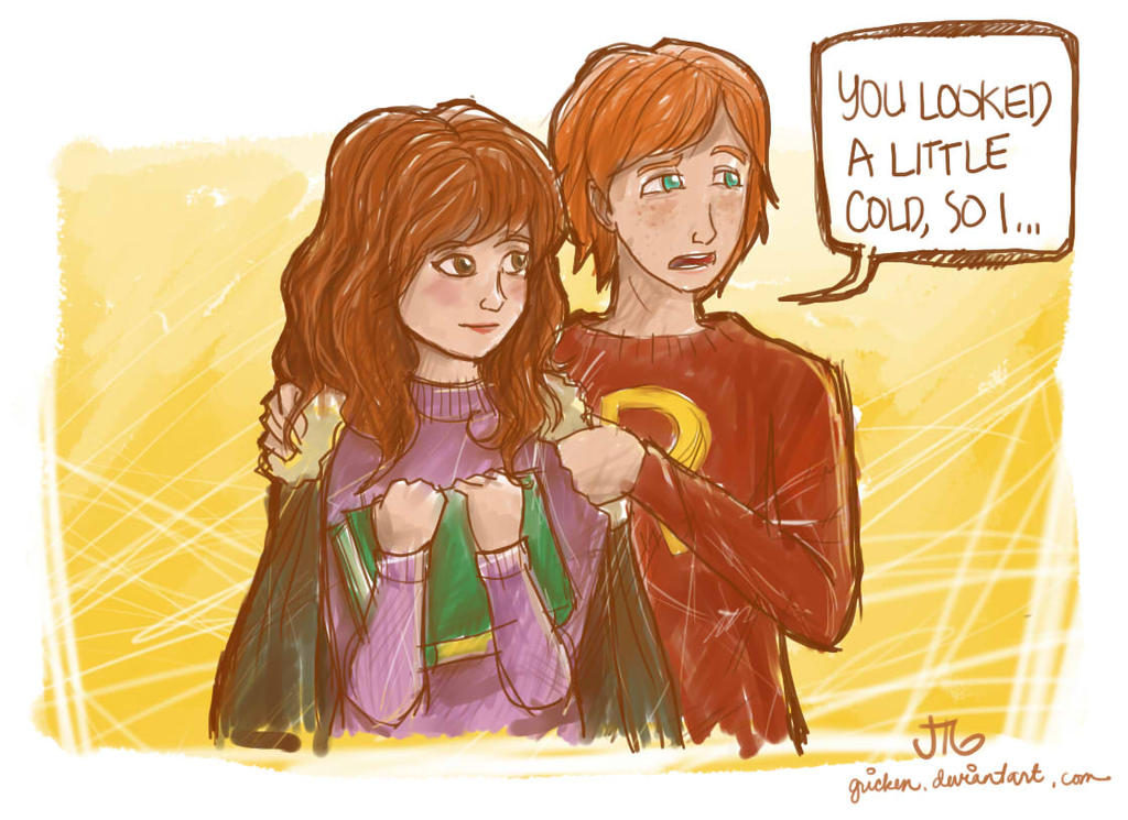 Hermione and Ron by Gricken