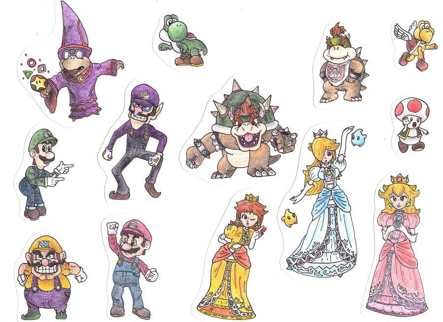 how to draw paper mario characters
