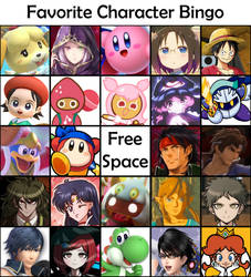 new fave character bingo